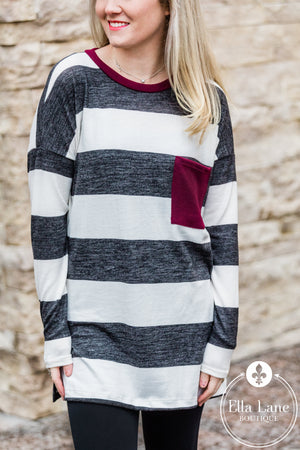 Burgundy Pocket Sweater FINAL SALE