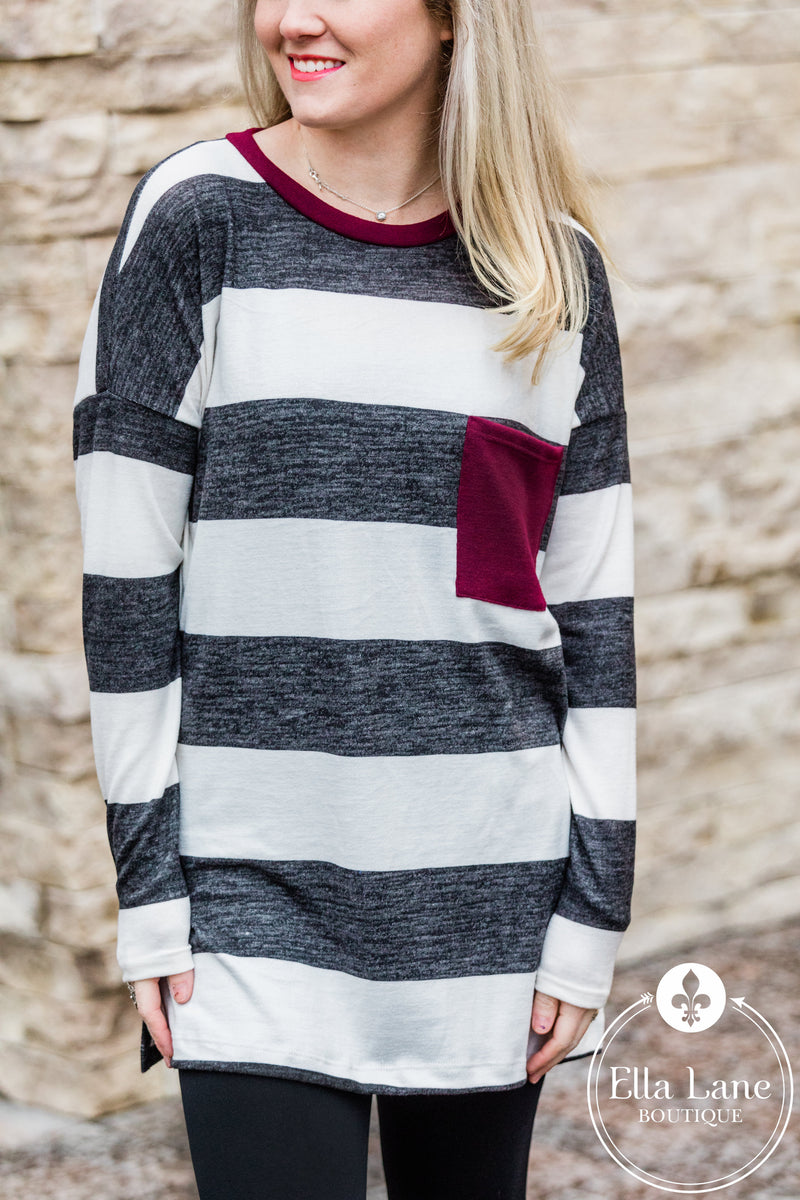 Burgundy Pocket Sweater