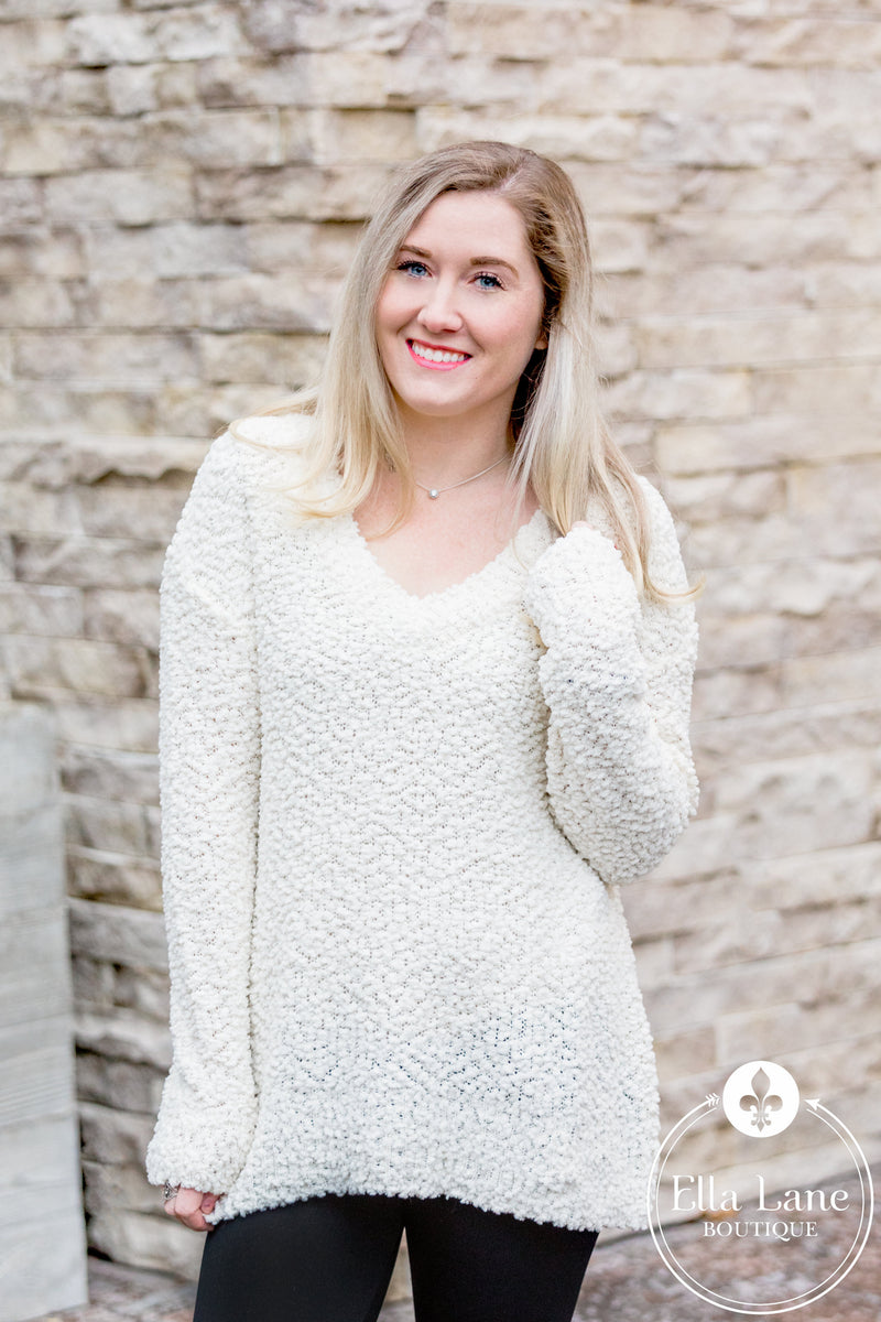 Popcorn V-Neck Sweater - Cream
