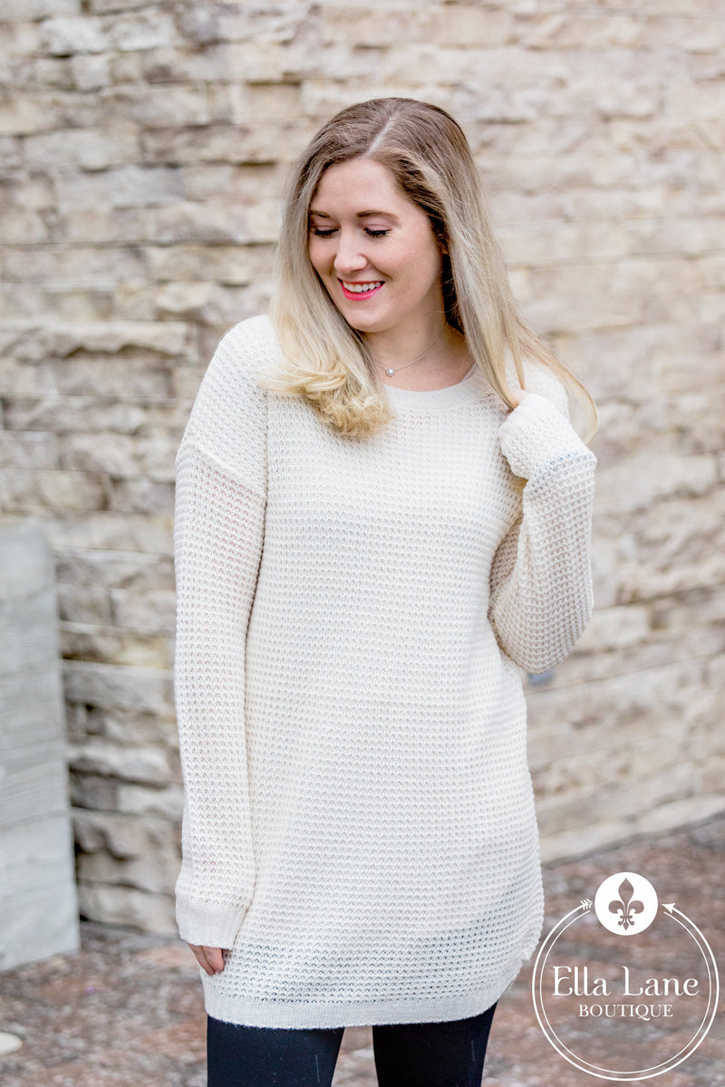 Tunic Waffle Sweater - Cream FINAL SALE