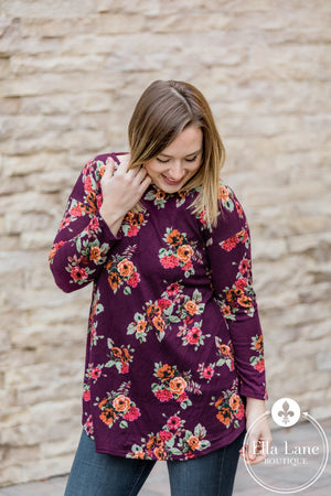 Burgundy Floral Tunic Top