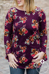 Burgundy Floral Tunic Top FINAL SALE