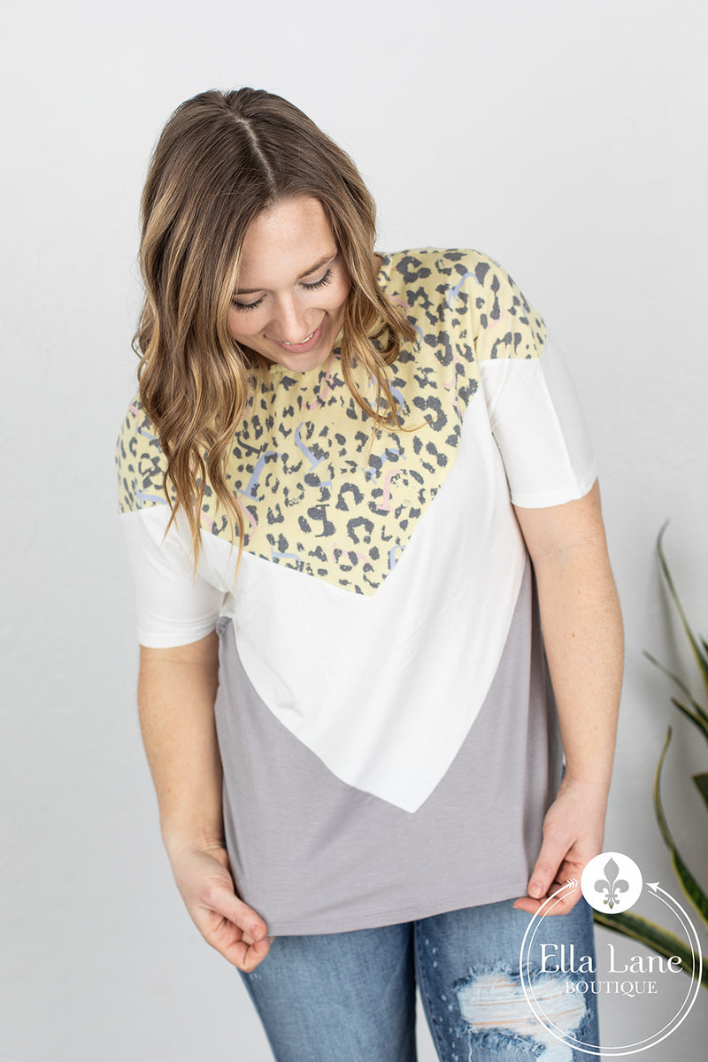 Yellow Animal Print Color Block Top