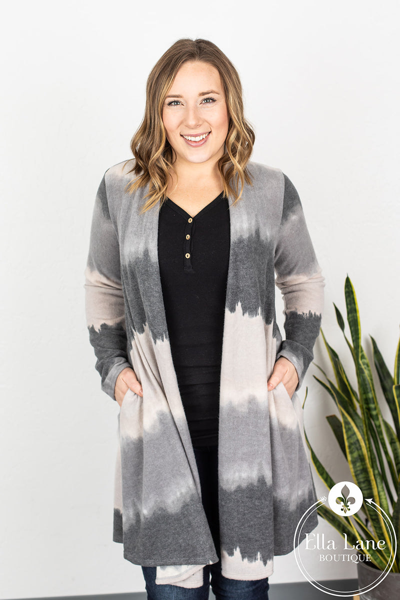 Ombre Cardigan - Grey