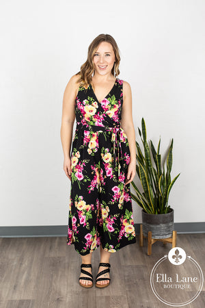 Julia Floral Sleeveless Jumpsuit - Black