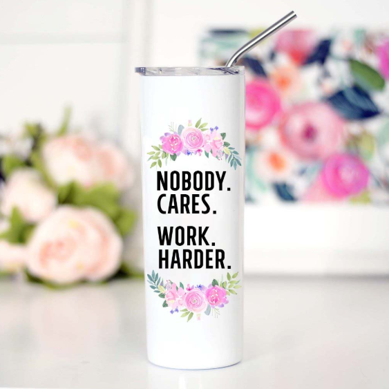 Work Harder Tall Travel Mug