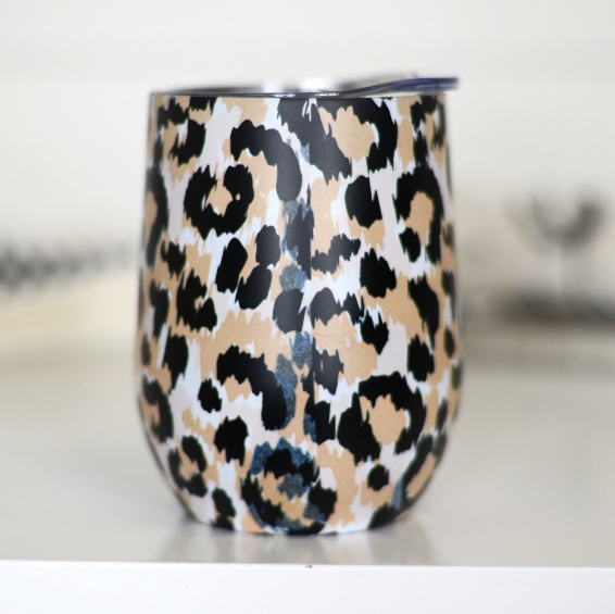 Full Wrap Wine Tumbler - Leopard
