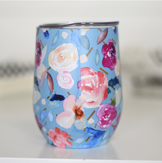Full Wrap Wine Tumbler - Blue Floral
