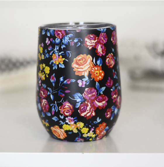 Full Wrap Wine Tumbler - Black Floral