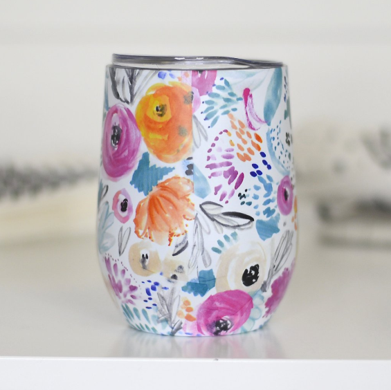 Full Wrap Wine Tumbler - Bright Floral