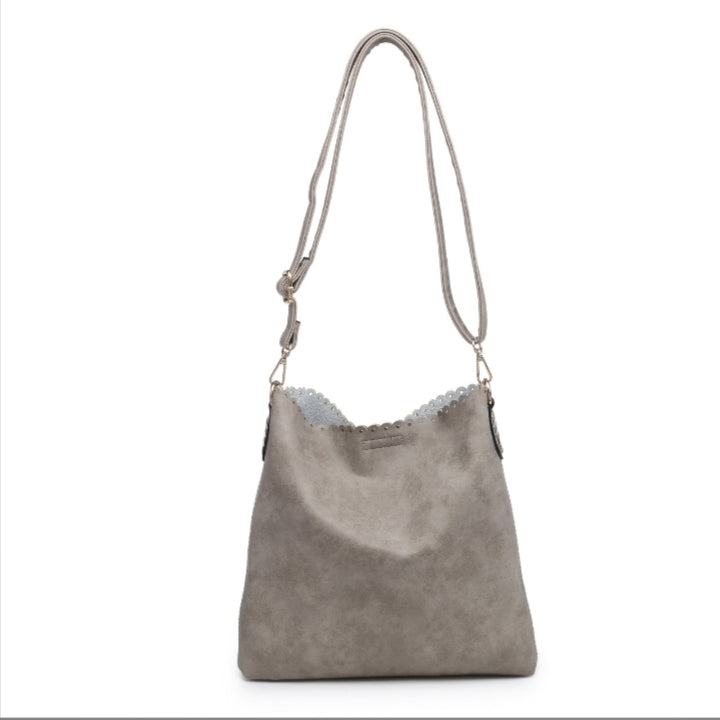 Eyelet Scallop Double Bag - Grey