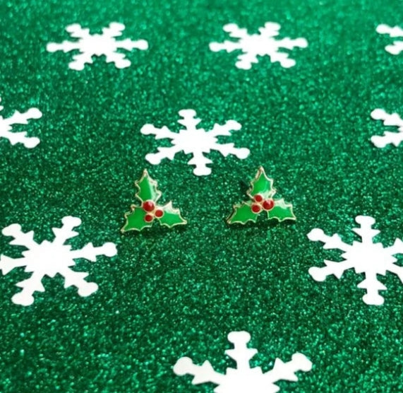 Christmas Holly Earring Bowl Studs