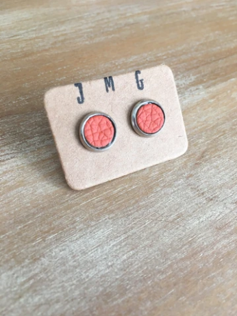 JMG 8mm Stud Earrings - Sunset Orange