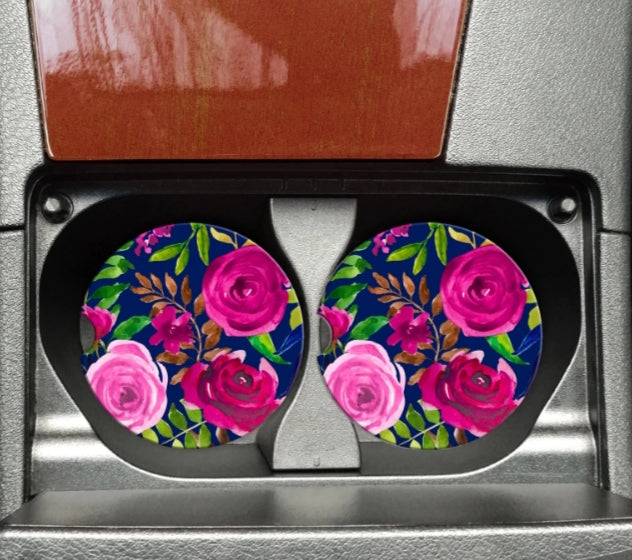 Navy and Pink Floral Car Coaster