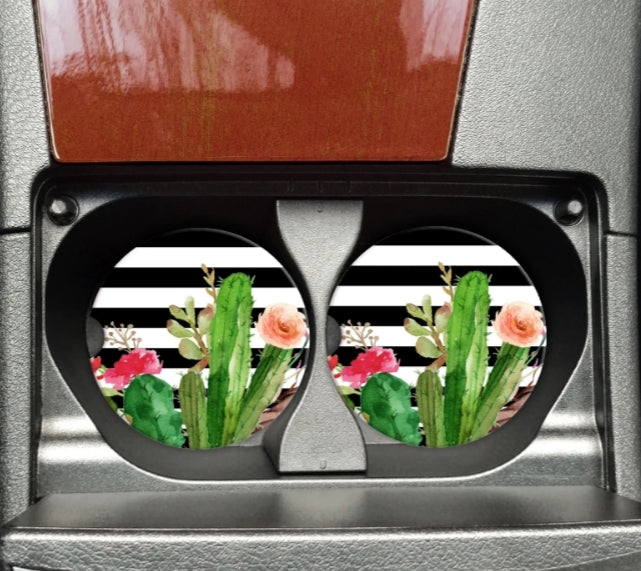 Cactus With Stripes Car Coaster