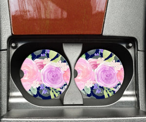 Jewel Tone Floral Car Coaster