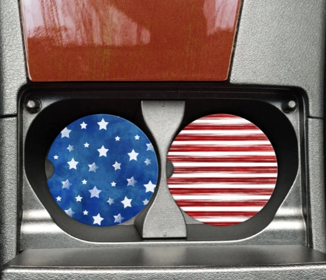 Blue Stars and Red Stripes Car Coaster