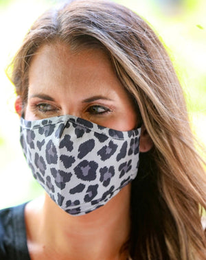 Filter Fabric Face Mask - Grey Leopard