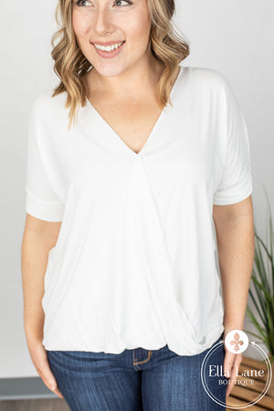 Darcy Draped Front Top - Ivory