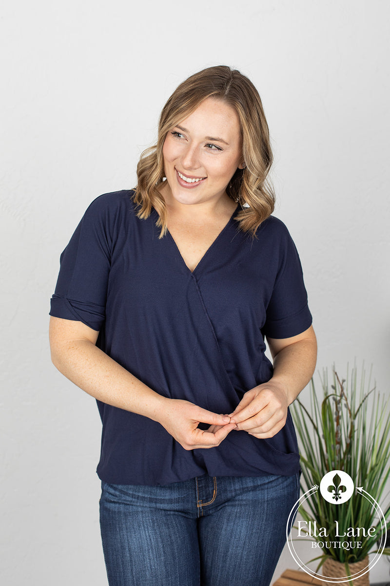 Darcy Draped Front Top - Navy