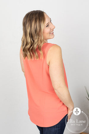 Sleeveless Woven Top - Coral