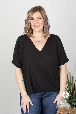 Darcy Draped Front Top - Black