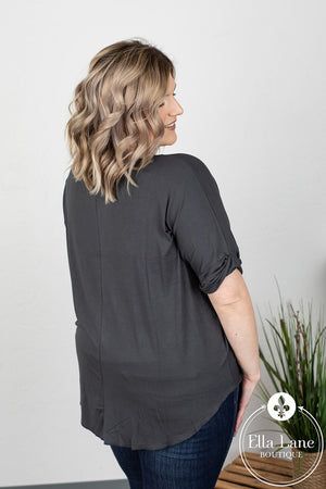 Darcy Draped Front Top - Ash Grey