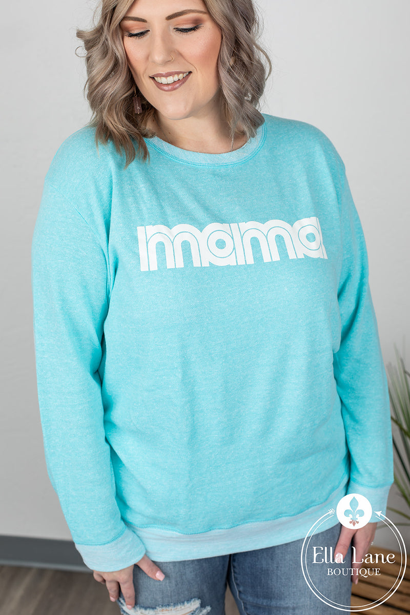 Mama French Terry Pullover - Sea Breeze