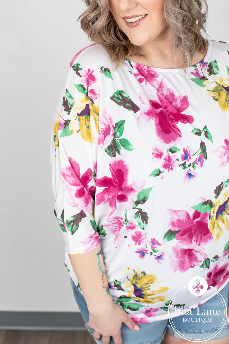 Tiffany Floral Top - Ivory