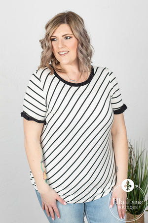 Renee Ruffle Sleeve Stripe Top FINAL SALE