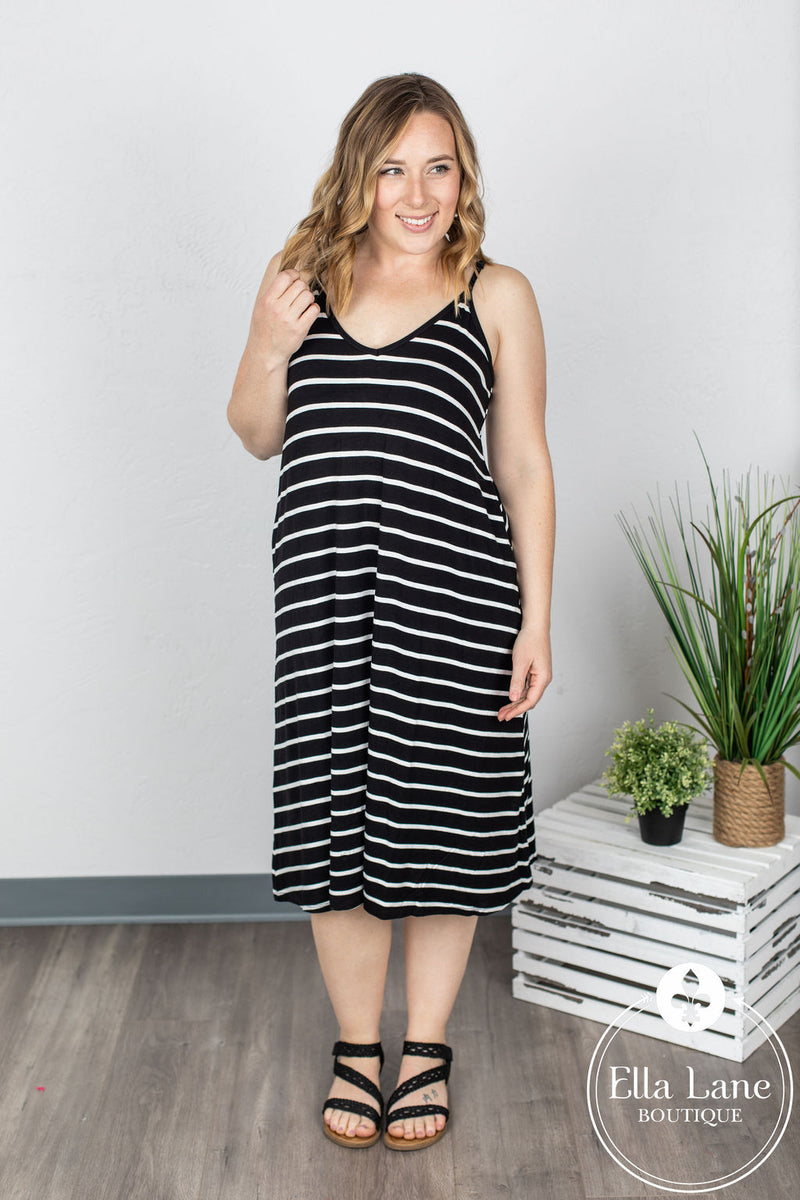 Stephanie Stripe Dress - Black