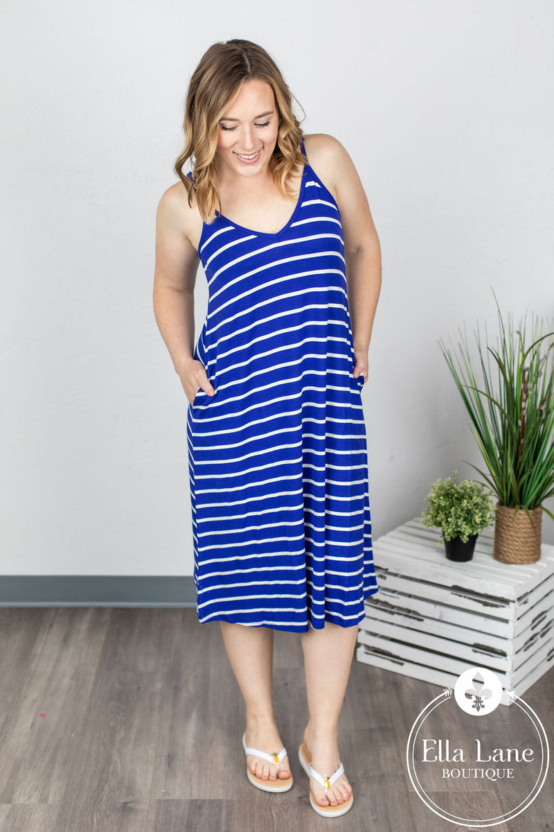 Stephanie Stripe Dress - Royal Blue