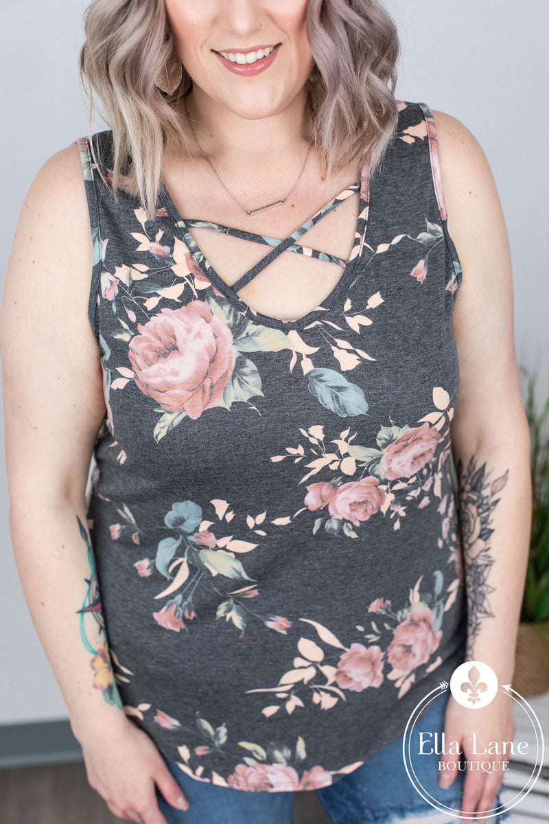 Criss Cross Floral Tank - Charcoal