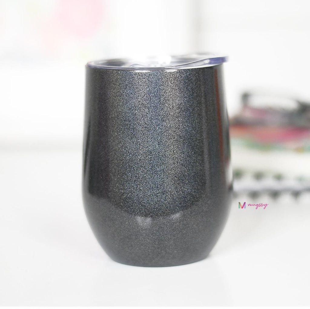 Black Rainbow Glitter Wine Cup