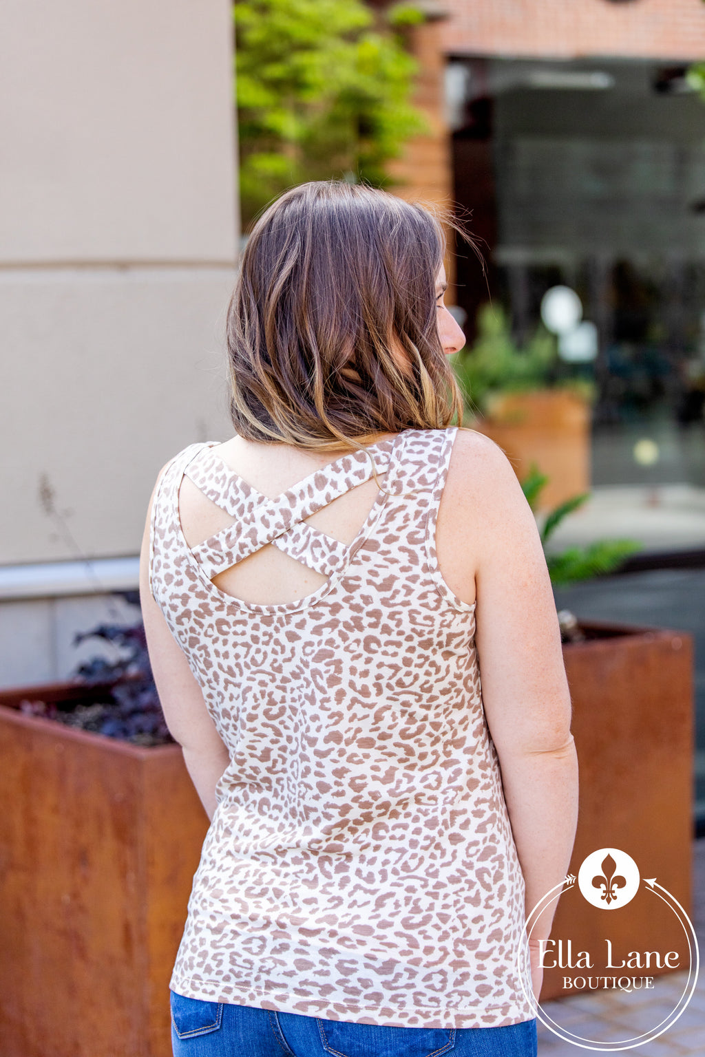 Michelle Mae Criss Cross Tank - Cheetah