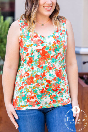 Michelle Mae Criss Cross Tank - Teal Mix FINAL SALE