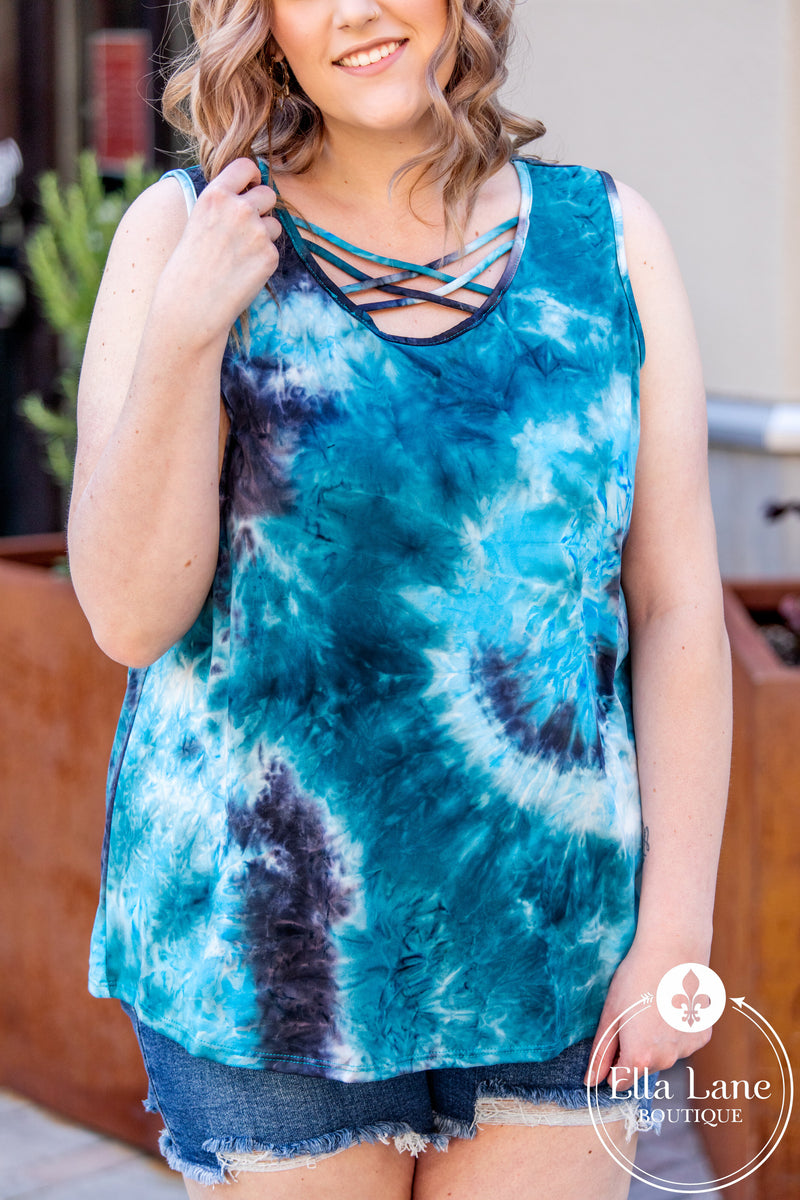 Sleeveless Tie Dye Criss Cross Top - Blue