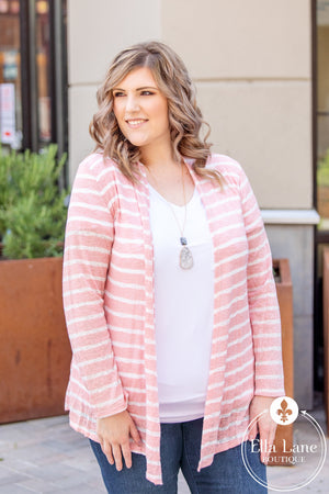 Annie Pink Stripe Cardigan FINAL SALE
