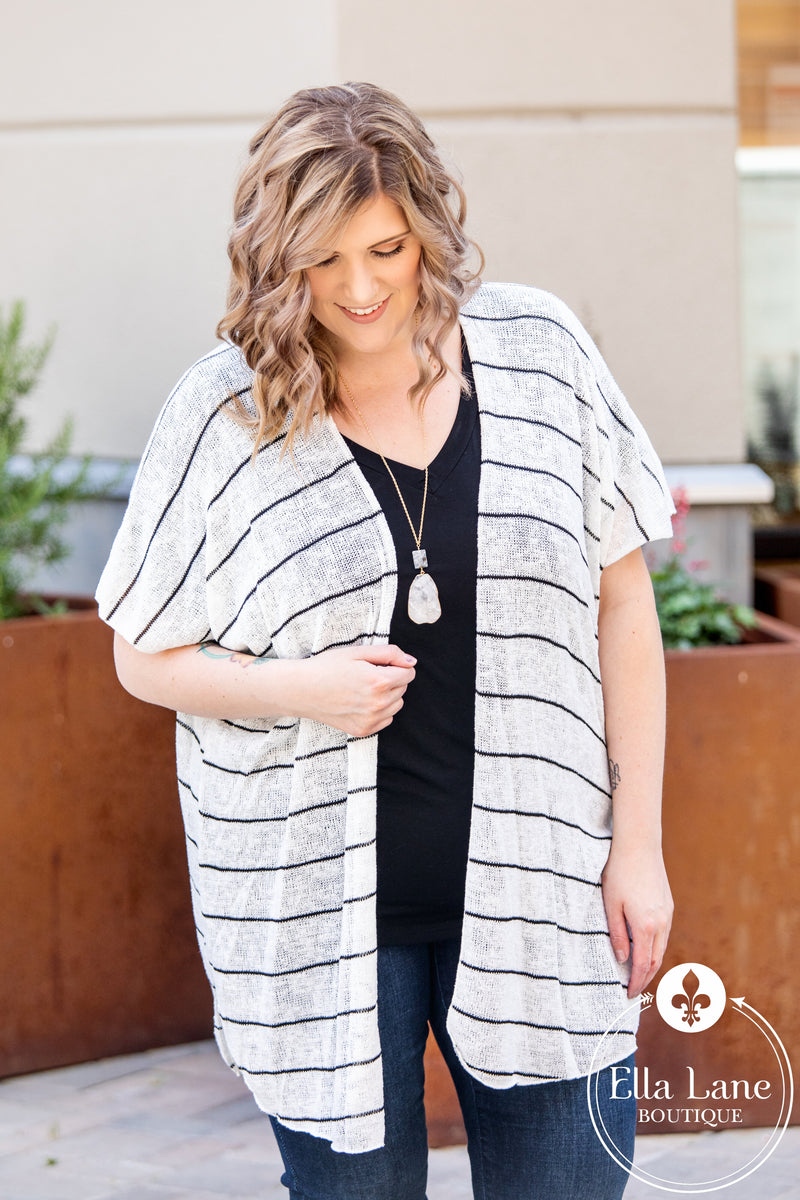 Black and White Striped Kimono FINAL SALE