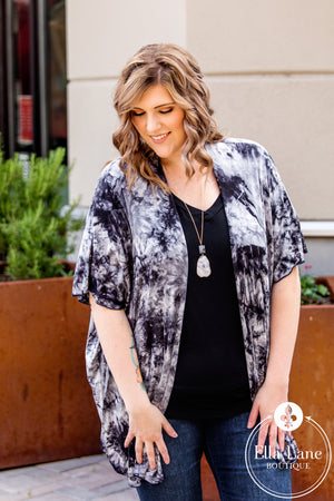 Black and White Tie Dye Cardigan-FINAL SALE