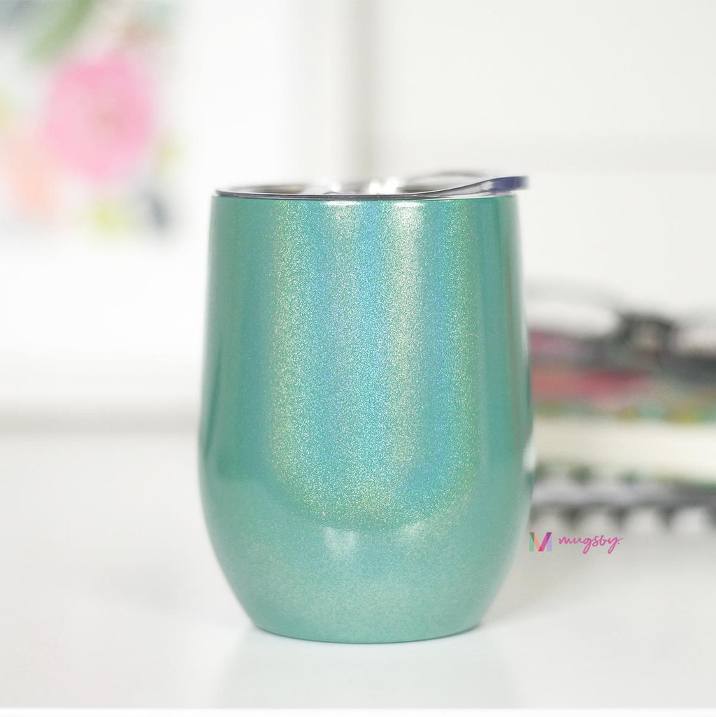 Green Rainbow Glitter Wine Cup