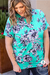 Mint Floral Short Sleeve Top FINAL SALE