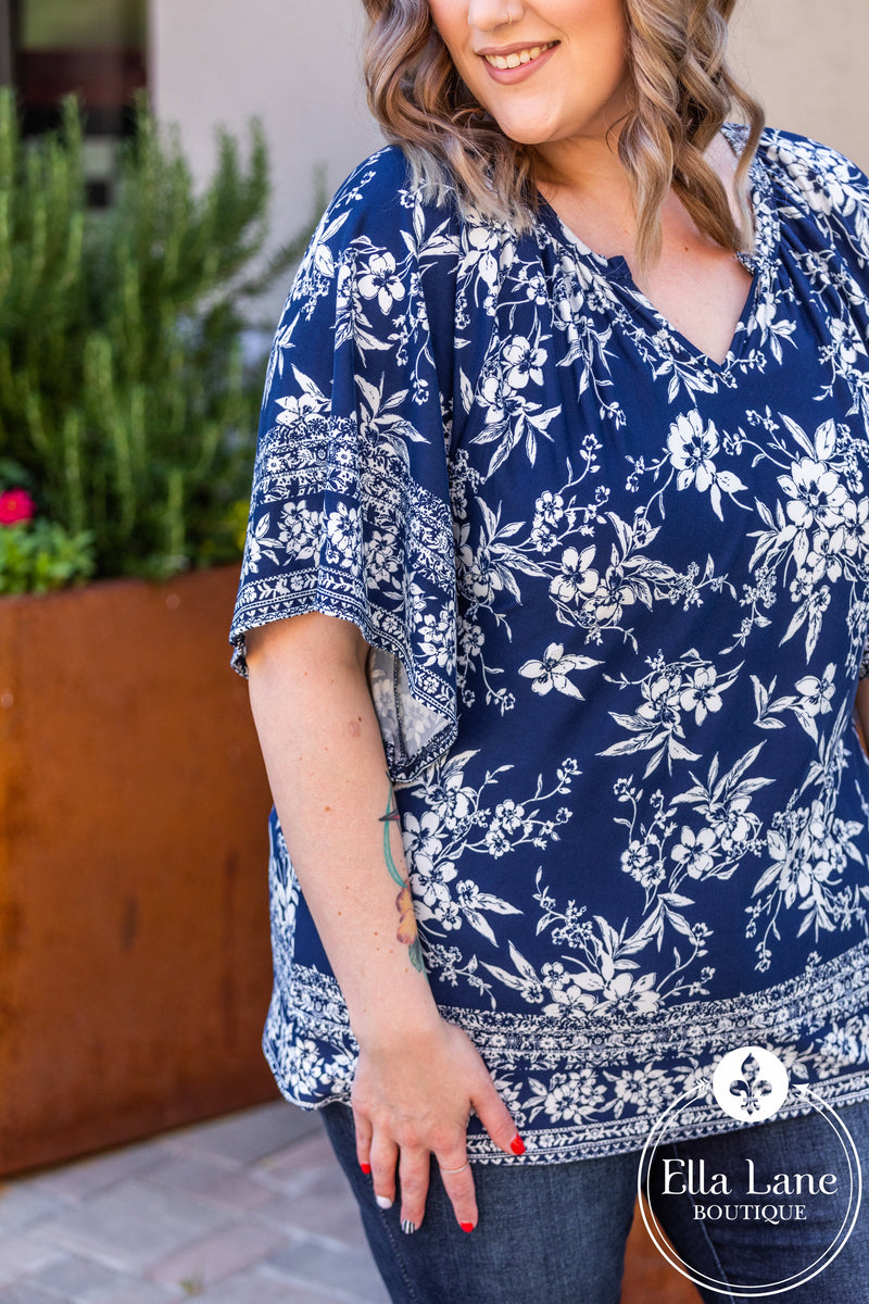 Nicole Navy Floral Top FINAL SALE