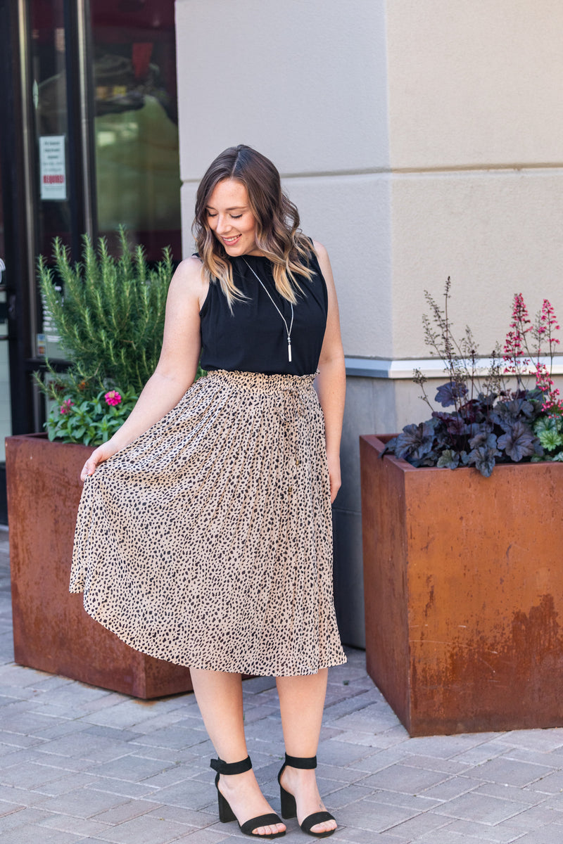Bella Pleated Skirt - Taupe FINAL SALE