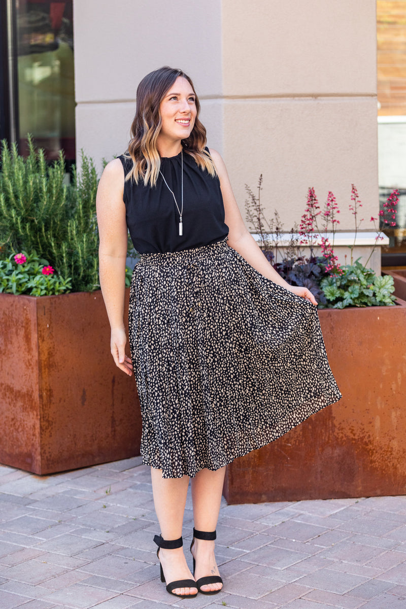 Bella Pleated Skirt - Black