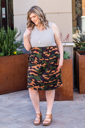 Michelle Mae Stripes and Camo Tank Dress FINAL SALE