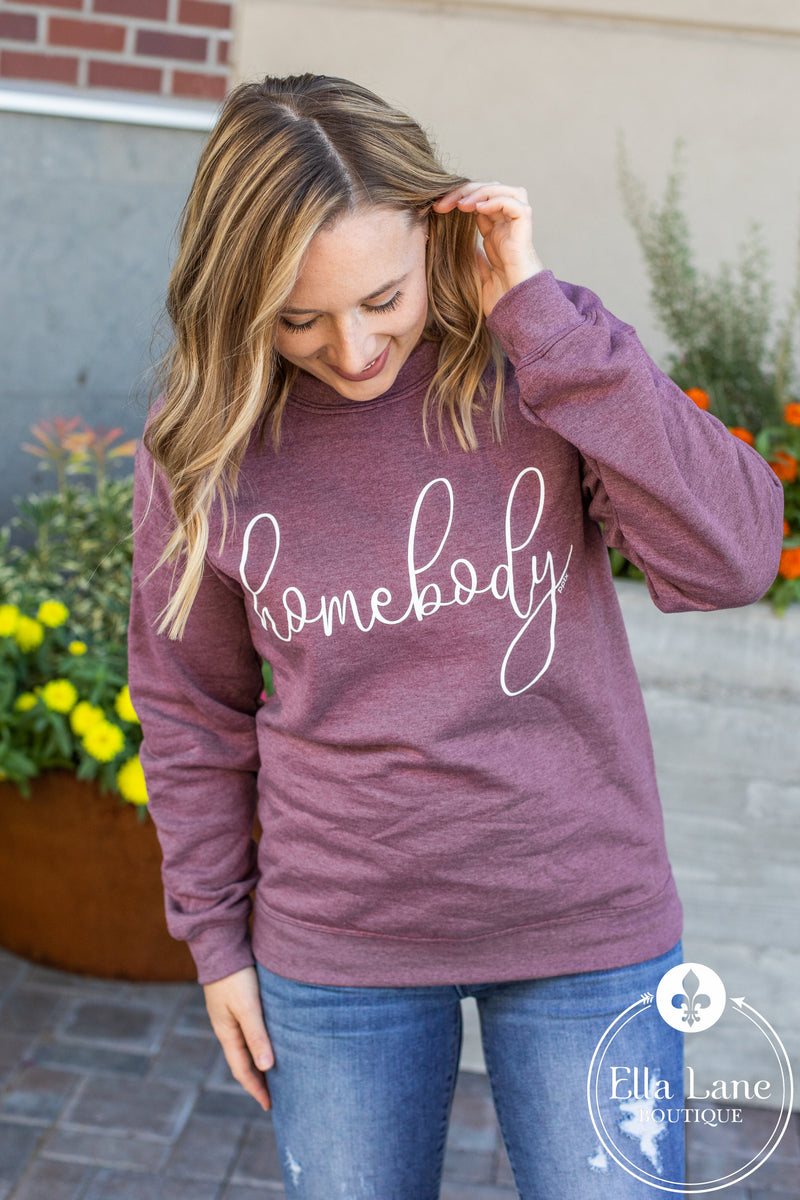 Homebody Pullover Sweatshirt - Plum