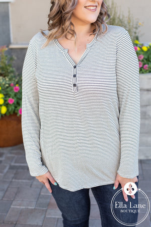 Button Henley Striped Top - Ivory/Black