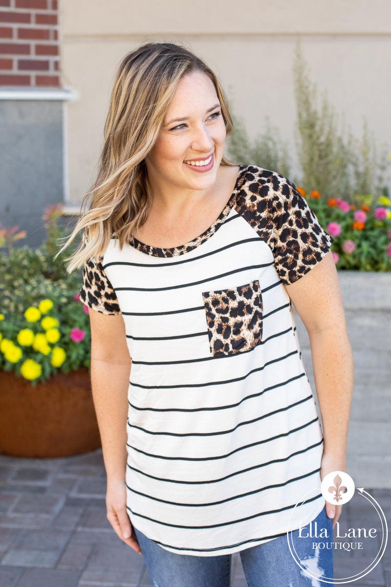 Short Sleeve Leopard and Stripes Top