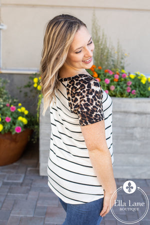 Short Sleeve Leopard and Stripes Top FINAL SALE